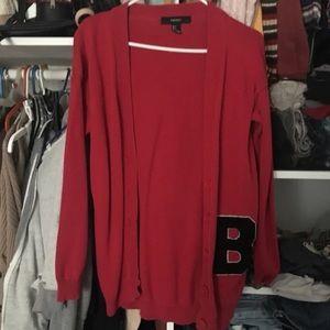 Red B varsity cardigan